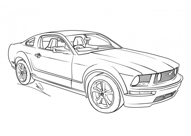 Free coloring and drawings Ford Mustang GT Coloring page