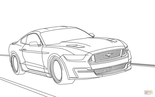 Free coloring and drawings Ford Mustang on the road Coloring page