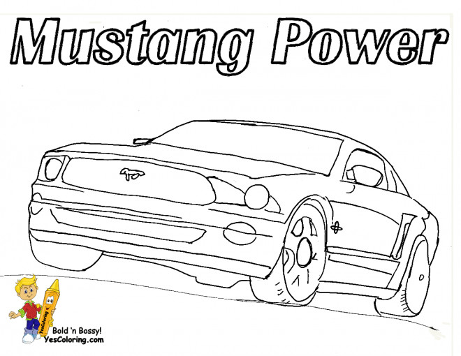Free coloring and drawings Ford Mustang Power Coloring page