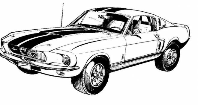 Free coloring and drawings Ford Mustang vector Coloring page