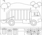 Coloring pages A Garbage Truck Landscape