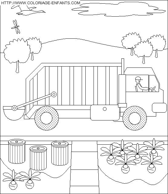 Free coloring and drawings A Garbage Truck Landscape Coloring page