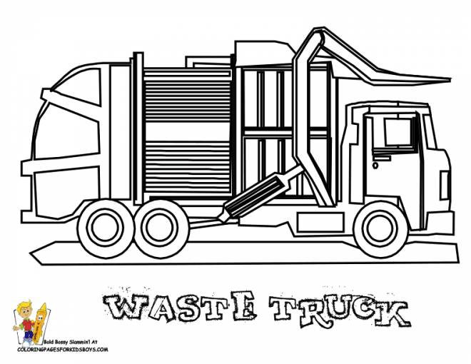 Free coloring and drawings A Garbage Truck to be colored Coloring page
