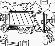 Free coloring and drawings Colored garbage truck Coloring page
