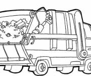 Free coloring and drawings Easy Garbage Truck Coloring page