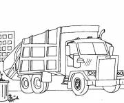 Coloring pages Garbage truck in the city