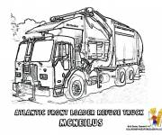 Free coloring and drawings Realistic garbage truck Coloring page