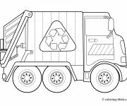 Free coloring and drawings Recycling Garbage Truck Coloring page
