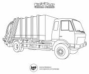 Free coloring and drawings Stylized garbage truck Coloring page