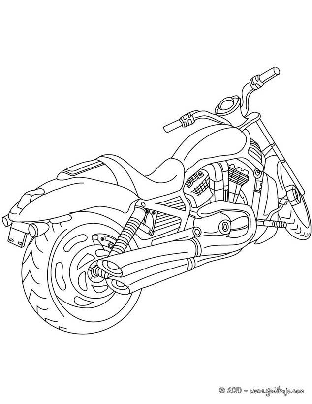 Free coloring and drawings A Harley Davidson motorcycle in pencil Coloring page