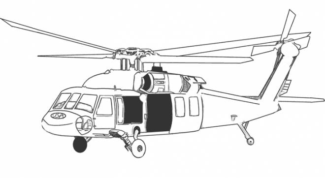 Free coloring and drawings a military helicopter in black Coloring page