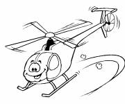 Free coloring and drawings Funny helicopter Coloring page