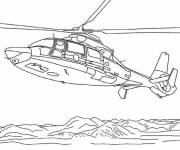 Free coloring and drawings Helicopter on the sea Coloring page