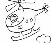 Free coloring and drawings Little child in a helicopter Coloring page