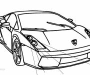 Free coloring and drawings Lamborghini automobile in black and white Coloring page