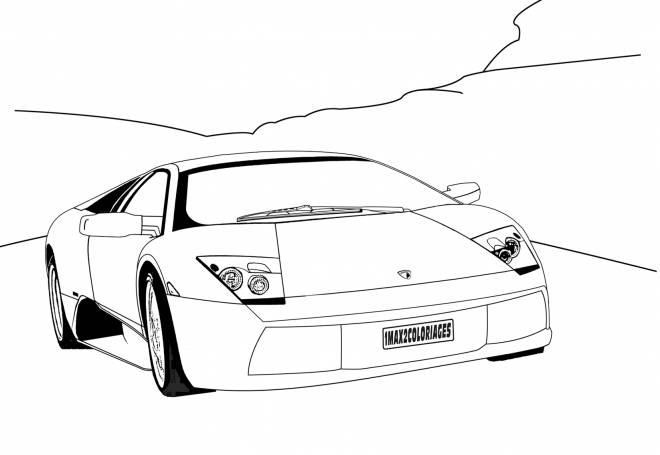 Free coloring and drawings Lamborghini automobile in the wild Coloring page