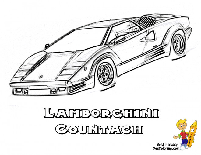 Free coloring and drawings Lamborghini Countach Coloring page