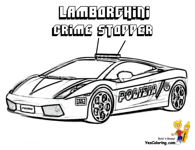 Free coloring and drawings Lamborghini Crime Stopper Coloring page