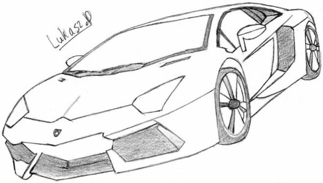 Free coloring and drawings Lamborghini in pencil Coloring page