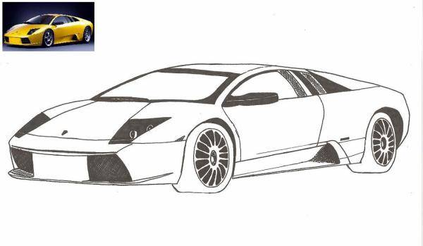 Free coloring and drawings Lamborghini in Yellow Coloring page
