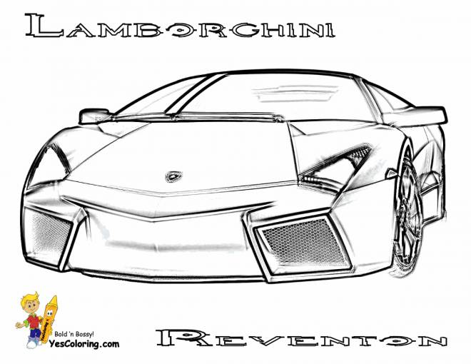 Free coloring and drawings Lamborghini Reventon front view Coloring page