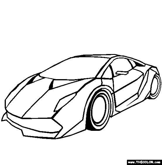 Free coloring and drawings Simple Lamborghini model Coloring page