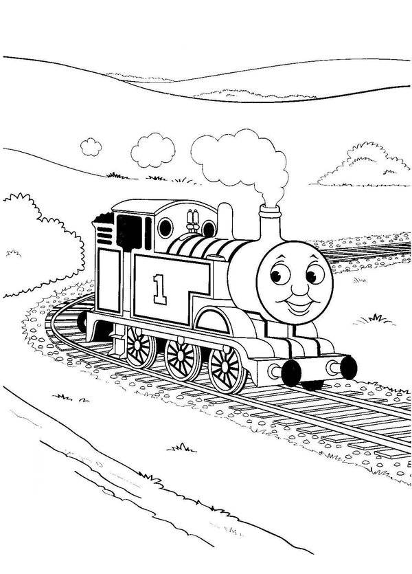 Free coloring and drawings A locomotive passes by the companion Coloring page