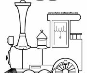 Free coloring and drawings Locomotive gives off smoke Coloring page