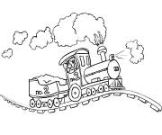 Coloring pages Locomotive on railroad