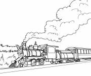Free coloring and drawings Steam train landscape Coloring page