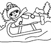 Coloring pages A Girl Sledging