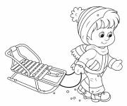 Coloring pages Child and his Sledge