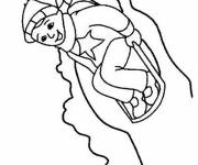 Coloring pages Child having fun on sledding