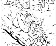 Coloring pages Christmas sledding