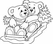 Coloring pages Cute animals on sledge