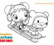 Coloring pages Cute girl on sledge