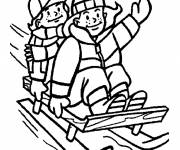 Coloring pages Tobogganing and winter activities