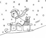 Coloring pages Tobogganing in snow