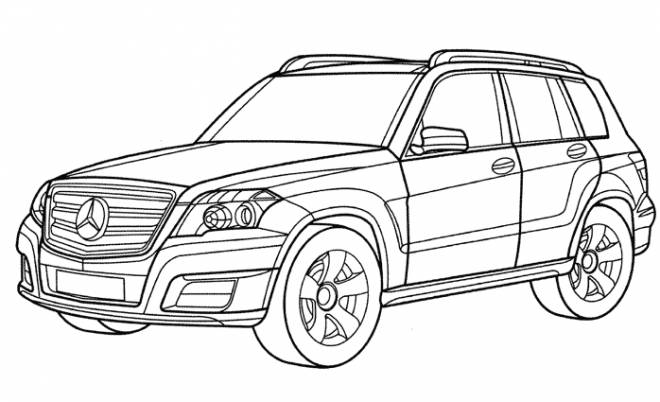 Free coloring and drawings Mercedes 4 × 4 car Coloring page