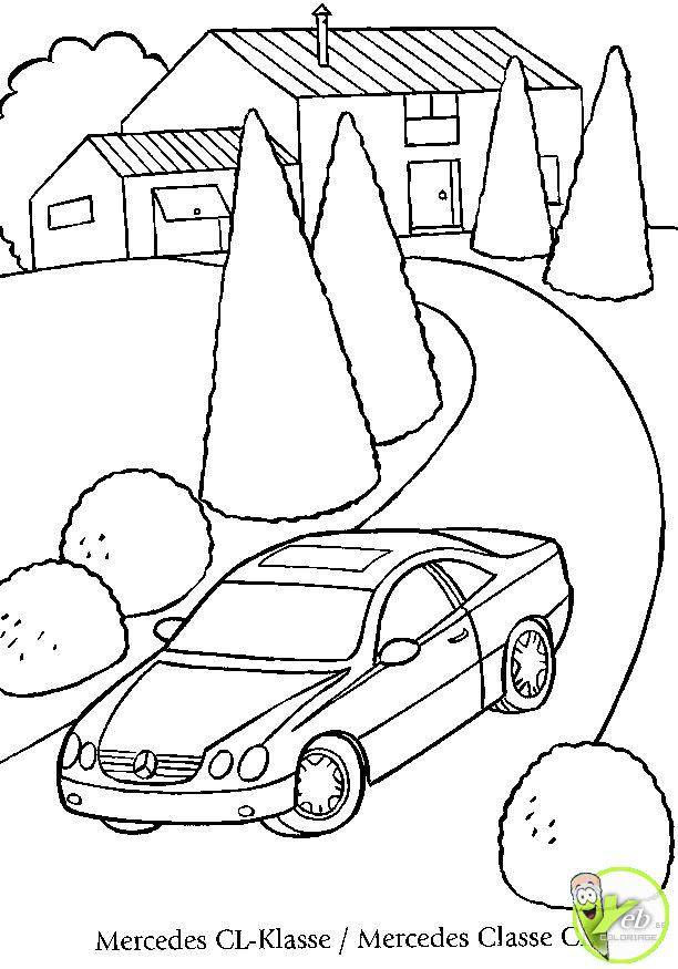 Free coloring and drawings Mercedes car landscape on the road Coloring page
