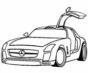 Coloring pages Mercedes SLS with butterfly doors