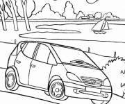Coloring pages Mercedes Viano near the river