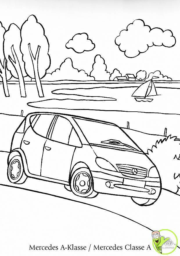 Free coloring and drawings Mercedes Viano near the river Coloring page