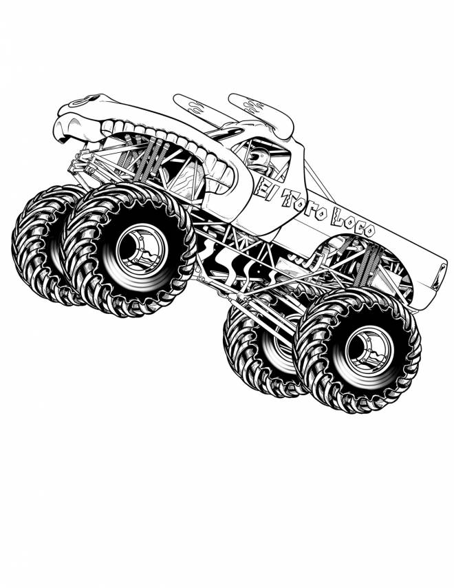 Free coloring and drawings 4 X 4 racing monster Coloring page