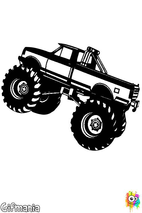 Free coloring and drawings A Monster Truck Vehicle in Black Coloring page