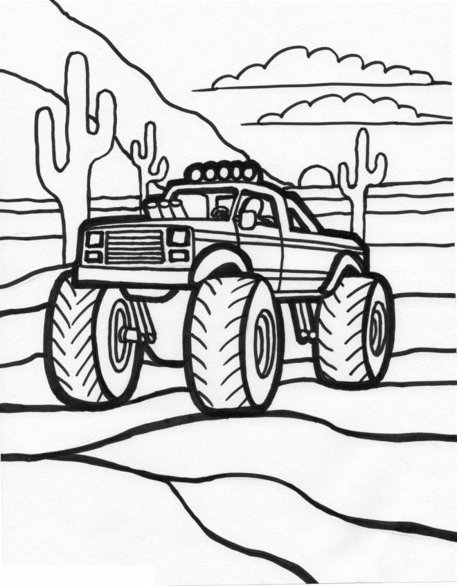 Free coloring and drawings American Monster Truck Coloring page