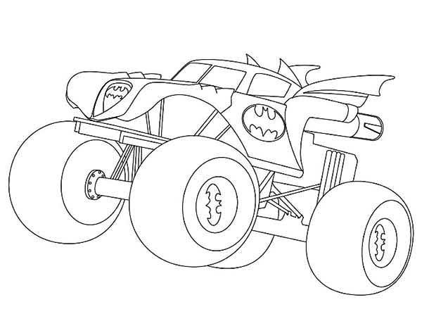 Free coloring and drawings Batman Monster Truck easy Coloring page
