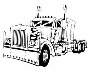 Free coloring and drawings Black and white color truck Coloring page