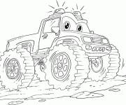 Free coloring and drawings Cartoon monster truck Coloring page