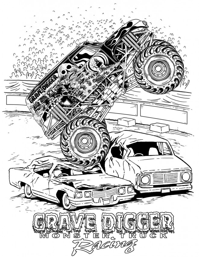 Free coloring and drawings Grave Digger Monster Jam Coloring page